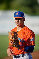 Syracuse Mets Danny Espinosa (18) during warmups before an International League game against the Charlotte Knights on June 11, 2019 at NBT Bank Stadium in Syracuse, New York.  Syracuse defeated Charlotte 15-8.  (Mike Janes/Four Seam Images)