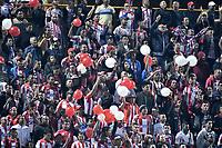 BOGOTÁ - COLOMBIA, 18-11-2018: Hinchas del Junior animan a su equipo durante el encuentro entre La Equidad y Atlético Junior por los cuartos de final, vuelta, de la Liga Águila II 2018 jugado en el estadio Metropolitano de Techo de la ciudad de Bogotá. / Fans of Junior cheer for their team during a Quarter Final second leg match between La Equidad and Atletico Junior as a part of Aguila League II 2018 played at the Metropolitano de Techo Stadium in Bogota city. Photo: VizzorImage/ Gabriel Aponte / Staff