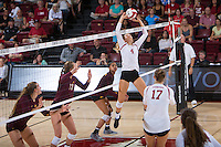 STANFORD, CA - August 28, 2016: Kelsey Humphreys at Maples Pavilion. The Stanford Cardinal defeated the University of Minnesota 3-1.