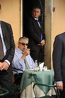 Roma, 11 Agosto 2011.Bar Giolitti nei pressi della camera dei deputati.Umberto Bossi ministro delle riforme per il federalismo .Umberto Bossi, reforms minister