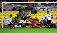Port Vale's Ben Whitfield scores his side's second goal from the penalty spot, sending Lincoln City's Josh Vickers the wrong way<br /> <br /> Photographer Andrew Vaughan/CameraSport<br /> <br /> The EFL Sky Bet League Two - Port Vale v Lincoln City - Saturday 13th October 2018 - Vale Park - Burslem<br /> <br /> World Copyright © 2018 CameraSport. All rights reserved. 43 Linden Ave. Countesthorpe. Leicester. England. LE8 5PG - Tel: +44 (0) 116 277 4147 - admin@camerasport.com - www.camerasport.com