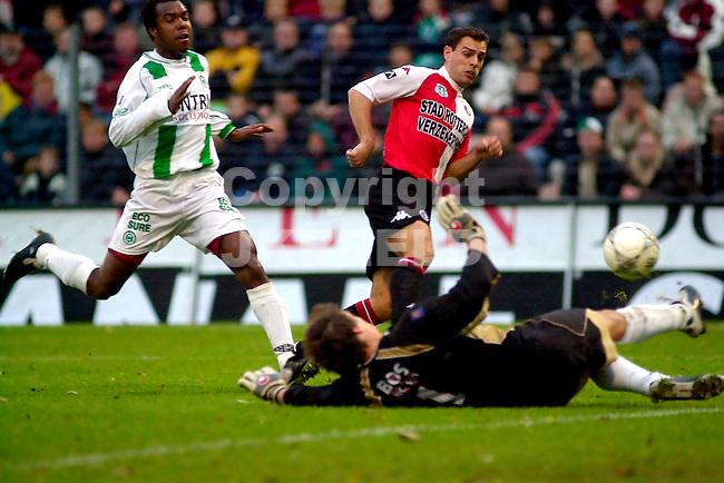 FC Groningen - Feyenoord Holland Casino Eredivisie seizoen 2003-2004 01-11-2003 luling strandt op doelman beukenkamp