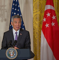 Washington DC, August 2, 2016, USA: Prime Minister Lee Hsien Loong of Singapore,speaks at a joint press conference at the White House.  Patsy Lynch/MediaPunch