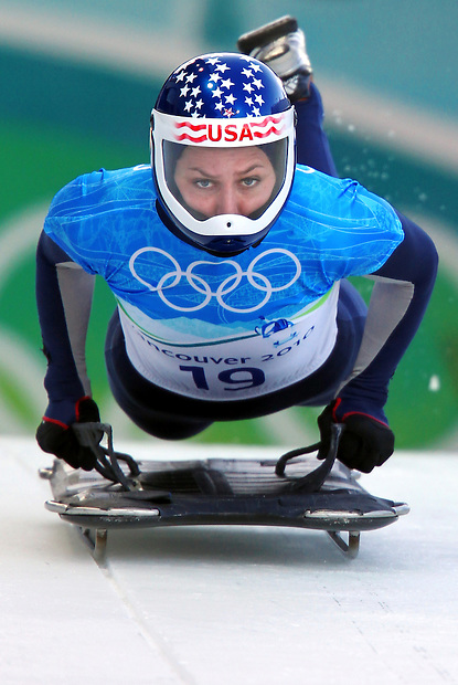 USA's Noelle Pikus-Pace begins her run in ladies' skeleton at the XXI Olympic Winter Games Wednesday, February 17, 2010 at the Whistler Sliding Center in Whistler, British Columbia.