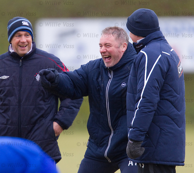 Ally McCoist and Walter Smith in top form tday as they take training ahead of the Celtic match