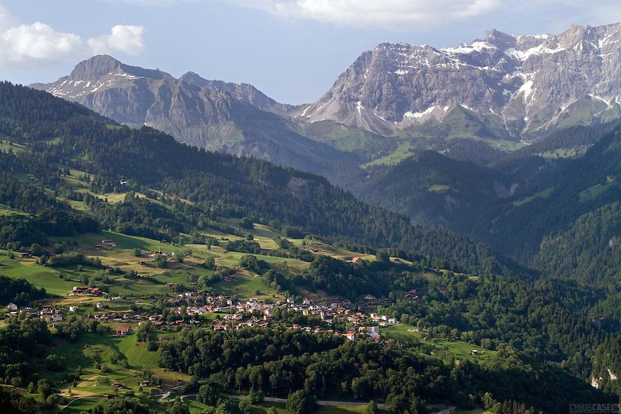 The view from the Davies' Chalet in Cavadura Underhof, Switzerland