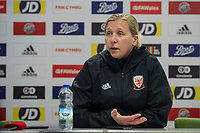 Jayne Ludlow Head Coach of Wales Women's' during the post match interview for the Women's International Friendly match between Wales and New Zealand at the Cardiff International Sports Stadium in Cardiff, Wales, UK. Tuesday 04 June, 2019