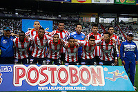 MANIZALES - COLOMBIA -12-04-2014: Los jugadores Atletico Junior posan para una foto durante  partido Once Caldas y Atletico Junior por la fecha 17 de la Liga de Postobon I 2014 en el estadio Palogrande en la ciudad de Manizales. / The players of Atletico Junior pose for a photo during a match Once Caldas and Atletico Junior for date 17th of the Liga de Postobon I 2014 at the Palogrande stadium in Manizales city. Photo: VizzorImage  / Santiago Osorio / Str.