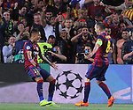 21.04.2015 Barceloona. UEFA Champions League, Quarter-finals 2nd leg. Picture show Neymar Jr. and Andres Iniesta in action during game between FC Barcelona against Paris Saint-Germain at Camp Nou