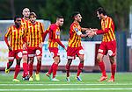 S&ouml;dert&auml;lje 2014-08-18 Fotboll Superettan Syrianska FC - Landskrona BoIS :  <br /> Syrianskas Kevin Bisse har gjort 1-0 och gratuleras av Mijodrag Koprivica <br /> (Foto: Kenta J&ouml;nsson) Nyckelord:  Syrianska SFC S&ouml;dert&auml;lje Fotbollsarena Landskrona BoIS jubel gl&auml;dje lycka glad happy