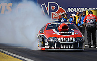 Feb. 22, 2013; Chandler, AZ, USA; NHRA pro stock driver V. Gaines during qualifying for the Arizona Nationals at Firebird International Raceway. Mandatory Credit: Mark J. Rebilas-
