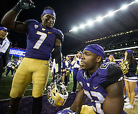 Keishawn Bierria tries to inspire Lavon Coleman to celebrate the win a bit more effusively.