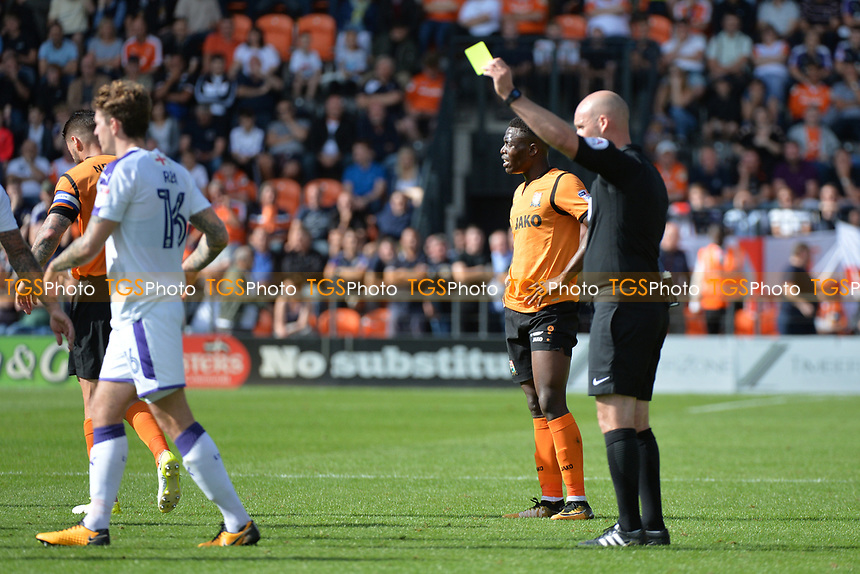 Glen Rea of Luton Town recieves the yellow card  during Barnet vs Luton Town, Sky Bet EFL League 2 Football at the Hive Stadium on 12th August 2017