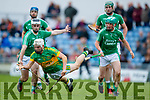 Jack Goulding and Ally O'Connor Ballyduff in action against Ricky Heffernan Lixnaw in the Senior County Hurling Final in Austin Stack Park on Sunday