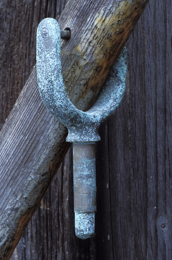 Oar lock hanging from oar, Coupeville, Whidbey Island, Washington