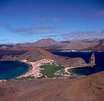 Unhabited island of Bartolome, bay, sea, blue