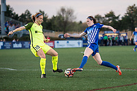Boston, MA - Saturday April 29, 2017: Kristen McNabb and Rose Lavelle during a regular season National Women's Soccer League (NWSL) match between the Boston Breakers and Seattle Reign FC at Jordan Field.