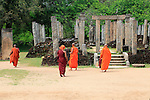 Atadage building in The Quadrangle, UNESCO World Heritage Site, the ancient city of Polonnaruwa, Sri Lanka, Asia Buddhist monks