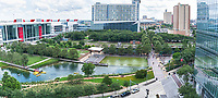 Discovery Green Park Pano - Another capture of the Discovery Green Park in downtown Houston.  The park is located right across the street from the Brown convention Center, near the Toyota Center and Minute Maid park.