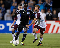 Santa Clara, California - Saturday August 25th, 2012: San Jose Earthquakes' Simon Dawkins and Colorado Rapids' Brian Mullan fighting for the ball during a game at Buck Shaw Stadium, Stanford, Ca    San Jose Earthquakes defeated Colorado Rapids 4 - 1