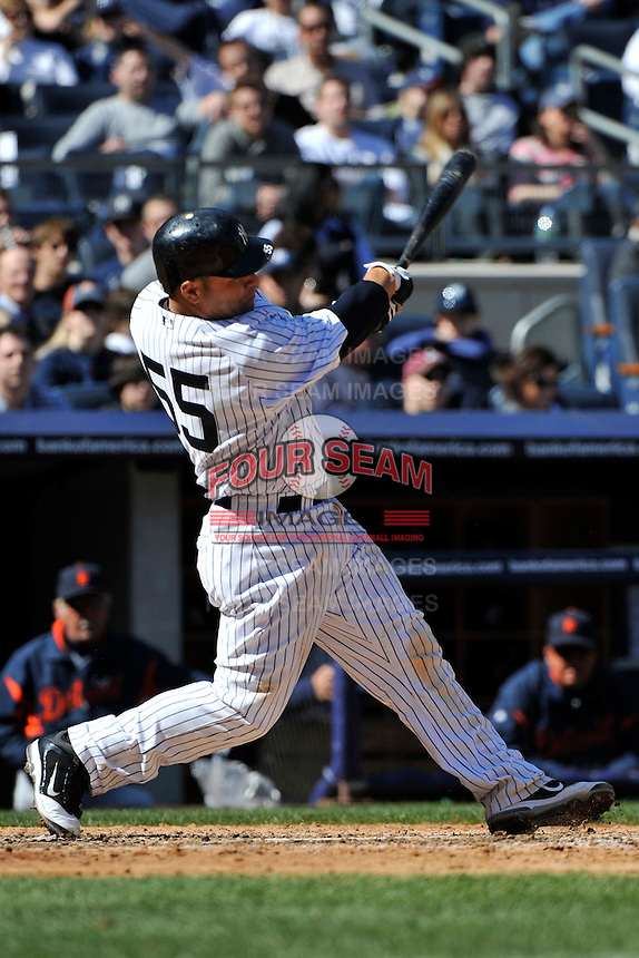 Apr 03, 2011; Bronx, NY, USA; New York Yankees catcher Russell Martin (55) during game against the Detroit Tigers at Yankee Stadium. Tigers defeated the Yankees 10-7. Mandatory Credit: Tomasso De Rosa