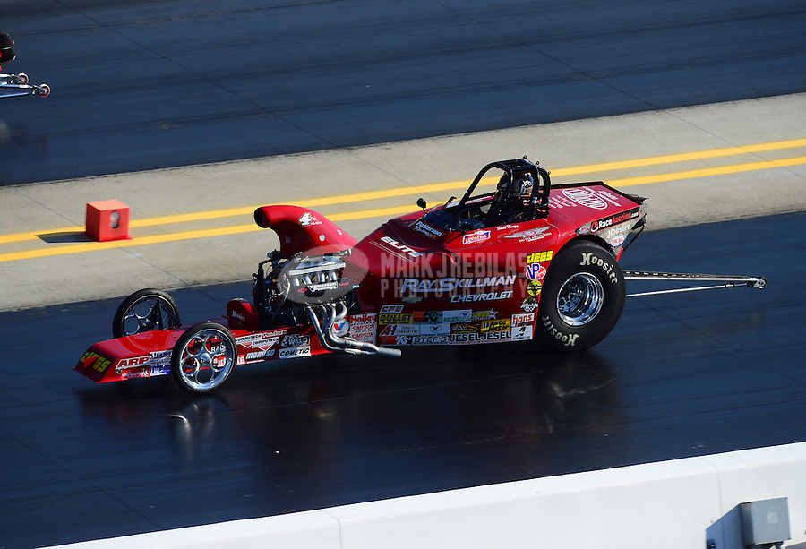 Apr. 14, 2012; Concord, NC, USA: NHRA competition eliminator driver David Rampy during qualifying for the Four Wide Nationals at zMax Dragway. Mandatory Credit: Mark J. Rebilas-