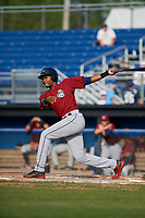 Mahoning Valley Scrappers left fielder Oscar Gonzalez (39) follows through on a swing during the first game of a doubleheader against the Batavia Muckdogs on August 28, 2017 at Dwyer Stadium in Batavia, New York.  Mahoning Valley defeated Batavia 6-3.  (Mike Janes/Four Seam Images)