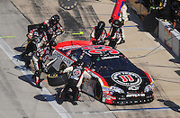Nov. 7, 2009; Fort Worth, TX, USA; NASCAR Nationwide Series driver Kevin Harvick pits during the O'Reilly Challenge at the Texas Motor Speedway. Mandatory Credit: Mark J. Rebilas-