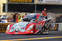 Oct 4, 2013; Mohnton, PA, USA; NHRA funny car driver Chad Head during qualifying for the Auto Plus Nationals at Maple Grove Raceway. Mandatory Credit: Mark J. Rebilas-