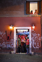 Bar in Trastevere region, Rome, Italy