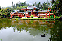 Byodo-In Buddhist temple in the Valley of the Temples, Oahu, Hawaii. The temple is a replica of the 900-year-old Byodo-In temple in Uji, Japan. Oahu, Hawaii RIGHTS MANAGED LICENSE AVAILABLE FROM www.GettyImages.com -- contact Sheldon for details