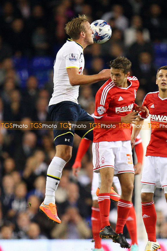 Ben Osborn of Nottingham Forest and Harry Kane of Tottenham Hotspur - Tottenham Hotspur vs Nottingham Forest - SCapital One Cup Third Round action at the White Hart Lane Stadium on 24/09/2014 - MANDATORY CREDIT: Dave Simpson/TGSPHOTO - Self billing applies where appropriate - 0845 094 6026 - contact@tgsphoto.co.uk - NO UNPAID USE
