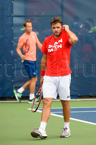 31.08.2015. New York, NY, USA.  Stan Wawrinka (SUI) and Magnus Norman (l) during practice at the 2015 U.S. Open Tennis Championships at the USTA Billie Jean King National Tennis Center in Flushing, Queens, New York, USA.