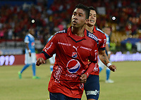 MEDELLÍN -COLOMBIA-08-07-2017: Christian Marrugo (C) jugador del Medellín celebra después de anotar un gol al Cali durante el partido entre Independiente Medellín y Millonarios por los fecha 1 de la Liga Águila II 2017 jugado en el estadio Atanasio Girardot de la ciudad de Medellín. / Christian Marrugo (C) player of Medellin celebrates after scoring a goal to Nacional during match between Independiente Medellin and Millonarios for the date 1 of the Aguila League II 2017 played at Atanasio Girardot stadium in Medellin city. Photo: VizzorImage/ León Monsalve / Cont