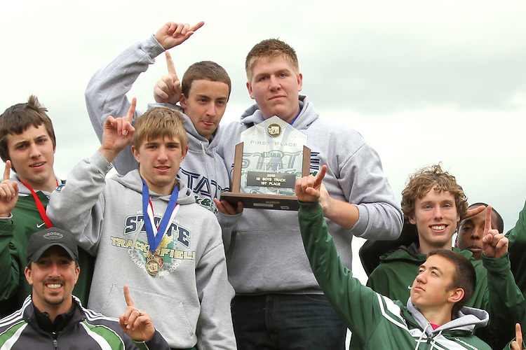Photograph from the WIAA State Championships at Eastern Washington University in Cheney, Washington, during the 2010 Mt. Rainier Lutheran High School track and field season.