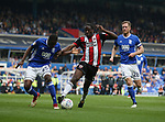 Clayton Donaldson of Sheffield Utd tussles with Wes Harding of Birmingham City during the championship match at St Andrews Stadium, Birmingham. Picture date 21st April 2018. Picture credit should read: Simon Bellis/Sportimage