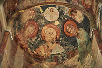 picture &amp; image of a fresco of Christ Pantocrator in the altar apse of the Samtavisi Georgian Orthodox Cathedral, 17th century, Shida Karti Region, Georgia (country)<br /> <br /> Built during the so called 10-11th century &ldquo;Georgian Golden Era&rdquo; Samtavisi cathedral is a built in classical Georgian style of the period. Layout on a cruciform ground plan with a high central cylindrical central cupola.