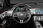 Steering wheel view of a 2012 Jaguar XF Portfolio