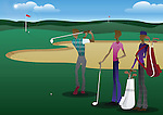 Three men playing golf