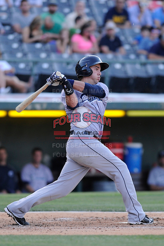 Third baseman Lonnie Chisenhall (15) of the Columbus Clippers bats in a game against the Charlotte Knights on Saturday, June 15, 2013, at Knights Stadium in Fort Mill, South Carolina. Columbus won, 4-2. (Tom Priddy/Four Seam Images)