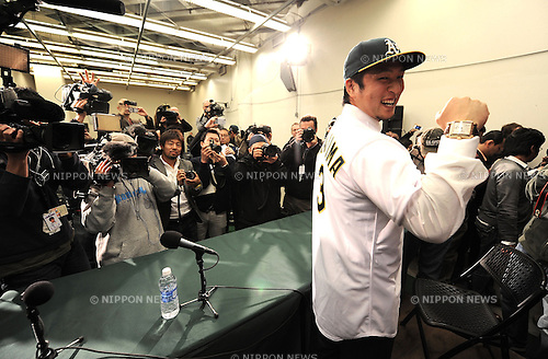 Hiroyuki Nakajima (Athletics),.DECEMBER 18, 2012 - MLB : The Oakland Athletics new infielder Hiroyuki Nakajima attends a news conference in Oakland, California, United States..The Athletics have agreed to terms of a two-year contract with Nakajima..(Photo by AFLO)