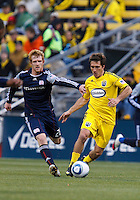 8 MAY 2010:  New England Revolutions' Pat Phelan (28) and Guillermo Barros Schelotto of the Columbus Crew (7) during MLS soccer game between New England Revolution vs Columbus Crew at Crew Stadium in Columbus, Ohio on May 8, 2010.