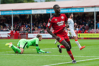 Enzio Boldewijn of Crawley Town (7) Scores his teams second goal of the game and match winner  during the Sky Bet League 2 match between Crawley Town and Luton Town at the Broadfield/Checkatrade.com Stadium, Crawley, England on 17 September 2016. Photo by Edward Thomas / PRiME Media Images.