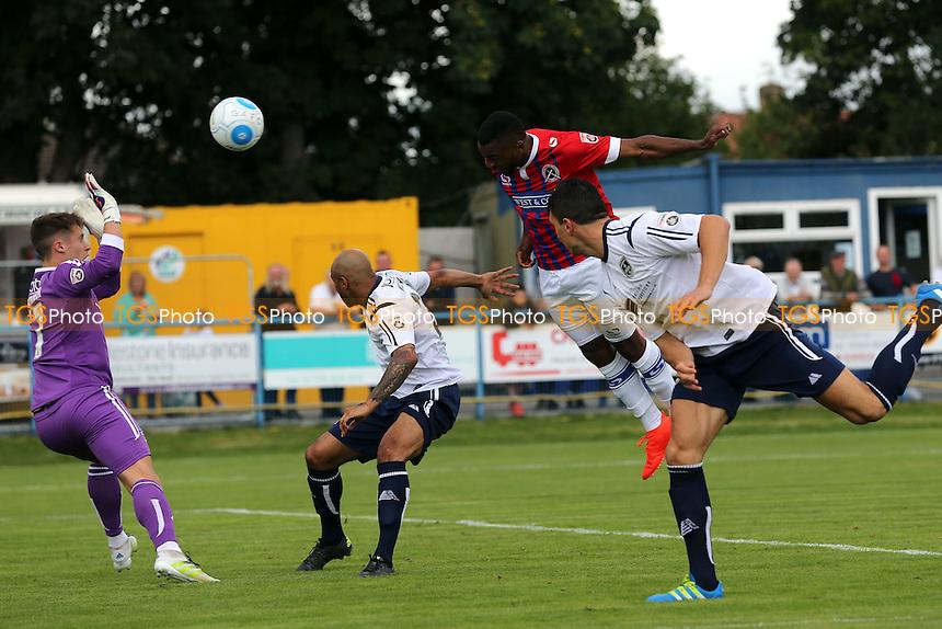 Christian Assombalonga of Dagenham scores the opening goal during Guiseley vs Dagenham and Redbridge, Vanarama National League Football at Nethermoor Park on 13th August 2016