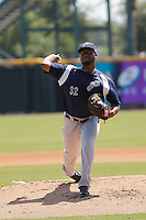 Pensacola Blue Wahoos pitcher Keyvius Sampson (32) in action during a game against the Jacksonville Suns at Bragan Field on the Baseball Grounds of Jacksonville on May 11, 2015 in Jacksonville, Florida. Jacksonville defeated Pensacola 5-4. (Robert Gurganus/Four Seam Images)