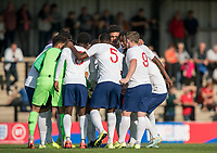 England pre match team huddle during the Under 18 International friendly match between England U18 & Brazil U18 at Hednesford Town Football Club, Keys Park, Cannock on 8 September 2019. Photo by Andy Rowland.