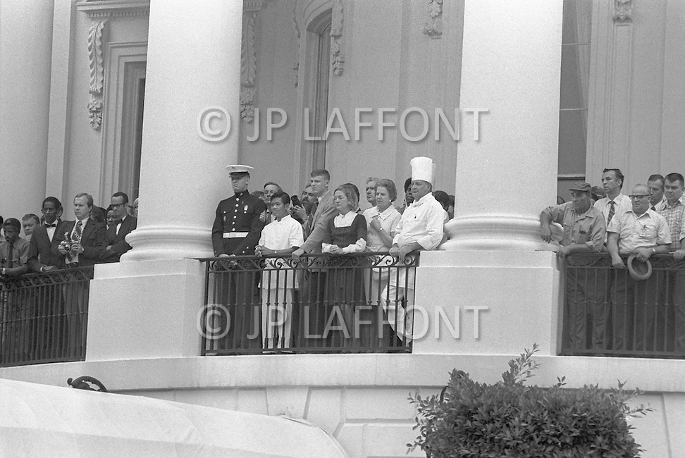 White House staff says goodbye (Chef Henry Haller in chef's hat) - A break in at the Democratic National Committee headquarters at the Watergate complex on June 17, 1972 results in one of the biggest political scandals the US government has ever seen.  Effects of the scandal ultimately led to the resignation of  President Richard Nixon, on August 9, 1974, the first and only resignation of any U.S. President.