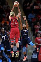 Washington, DC - June 1, 2019: Washington Mystics forward Elena Delle Donne (11) connects on a jump shot over Atlanta Dream guard Renee Montgomery (21) during game between Atlanta Dream and Washington Mystics at the St. Elizabeths East Entertainment and Sports Arena (Photo by Phil Peters/Media Images International)