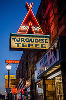 Neon sign for theTurquoise Tepee in Willians Arizona, on Route 66.