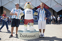 MOSCOW, RUSSIA - June 16, 2018: Argentina fans poses with Zabivaka, the mascot for the 2018 FIFA World Cup before the Iceland vs. Argentina game at the 2018 FIFA World Cup.